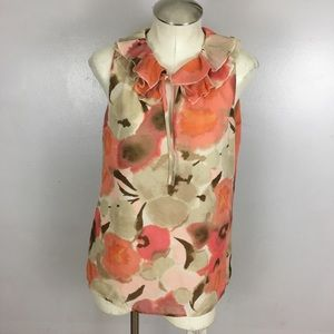 Loft Ruffle Neck Sleeveless Floral Blouse Medium
